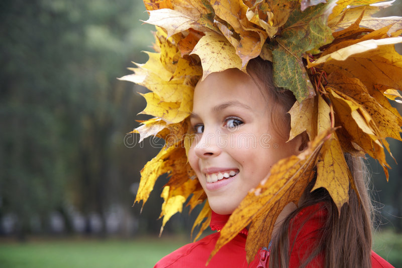 Download Preteen Girl In Leaf Garland Stock Photo - Image of expression, beauty: 6737980