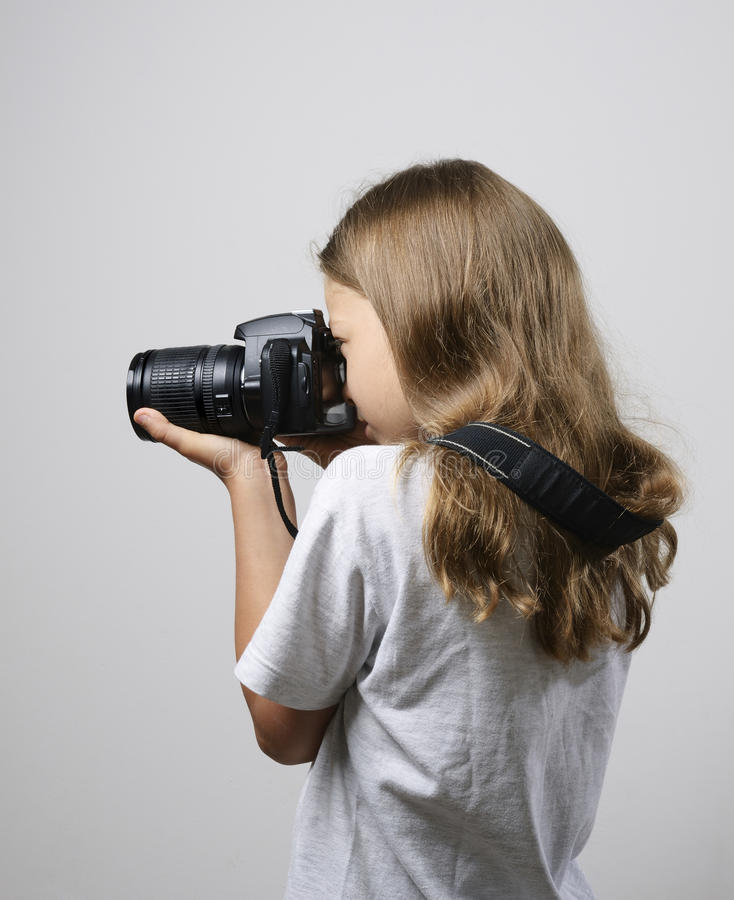 Download Preteen girl photographing stock image. Image of cheerful - 36161059