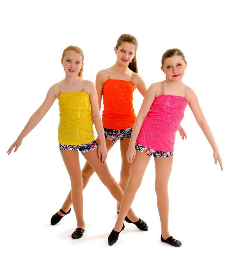 Preteen Jazz Dance Trio imagem de stock