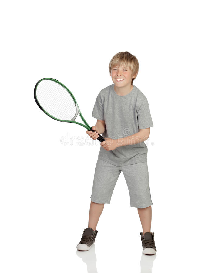 Preteen playing tennis holding racket royalty free stock images