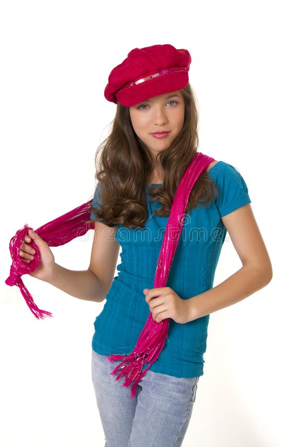 Preteen School Girl With Hat And Scarf stock image