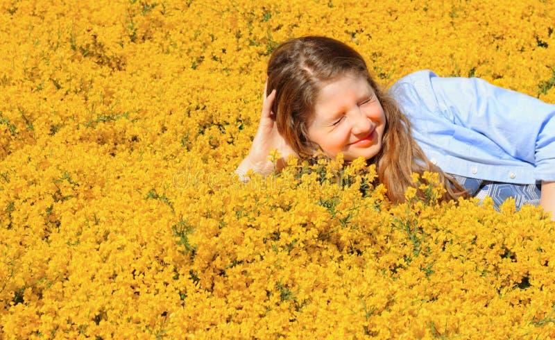 Preteen in Yellow stock image