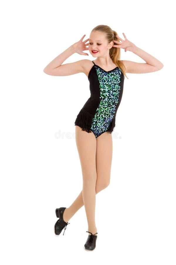 Preteentapdanser in de Concurrentiekostuum stock foto