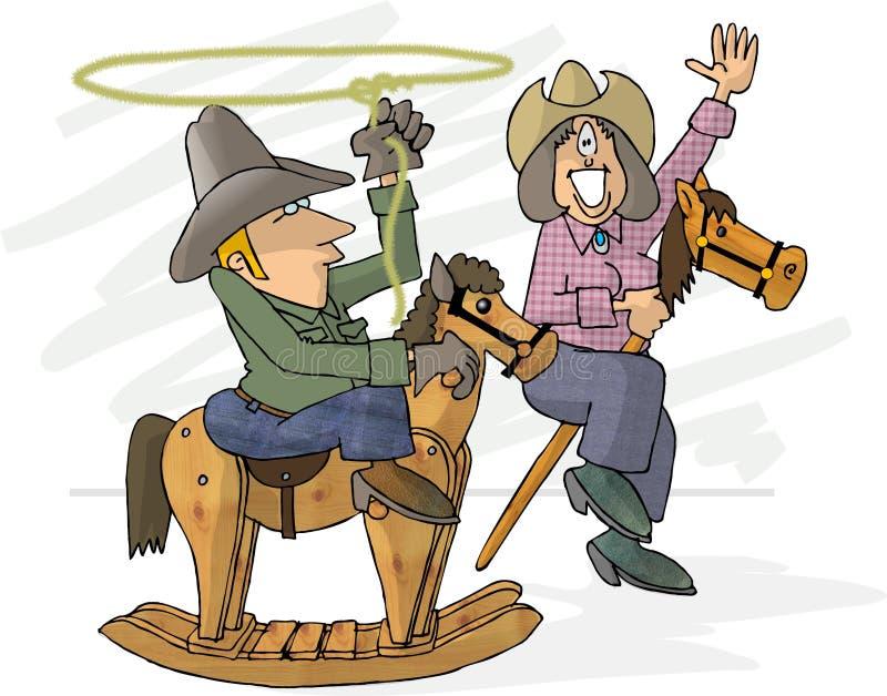 Pretend cowboys vector illustration