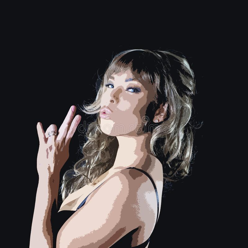 Blowing Index and Middle Fingers. Cartoonized portrait of a girl on black pretending to smoke a cigarette or blowing imaginary gun stock photo
