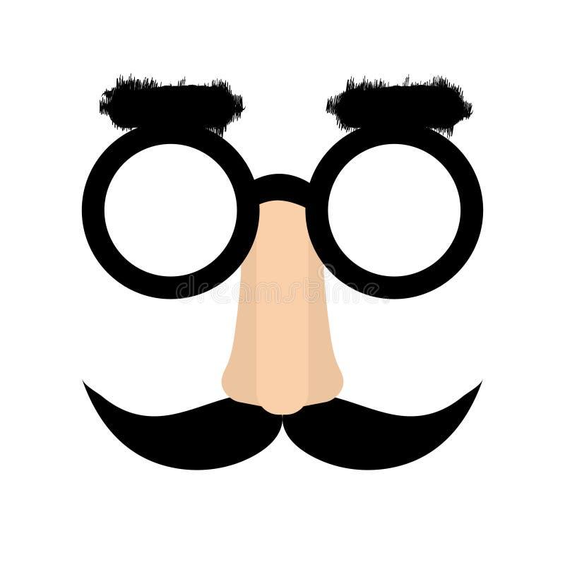 Pretgezicht met neus, glazen, wenkbrauwen vector illustratie