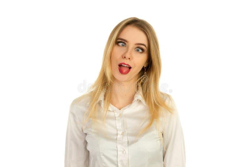 Pretmeisje het hamming aan de camera stock afbeelding