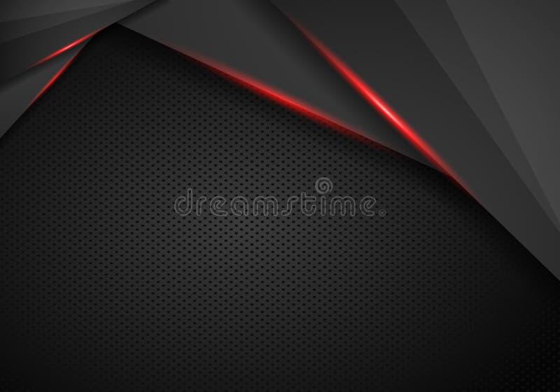 Preto abstrato com fundo vermelho do conceito da tecnologia do projeto da disposi??o do molde do quadro - vetor ilustração royalty free