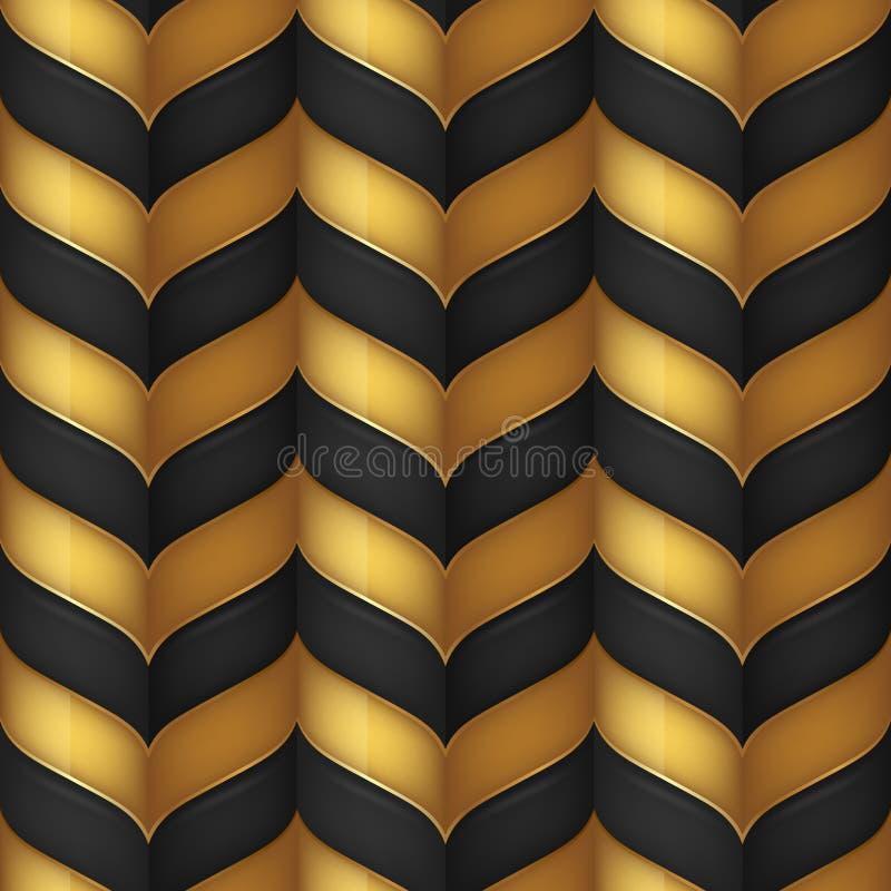 Preto abstrato e teste padrão sem emenda do ouro ilustração stock