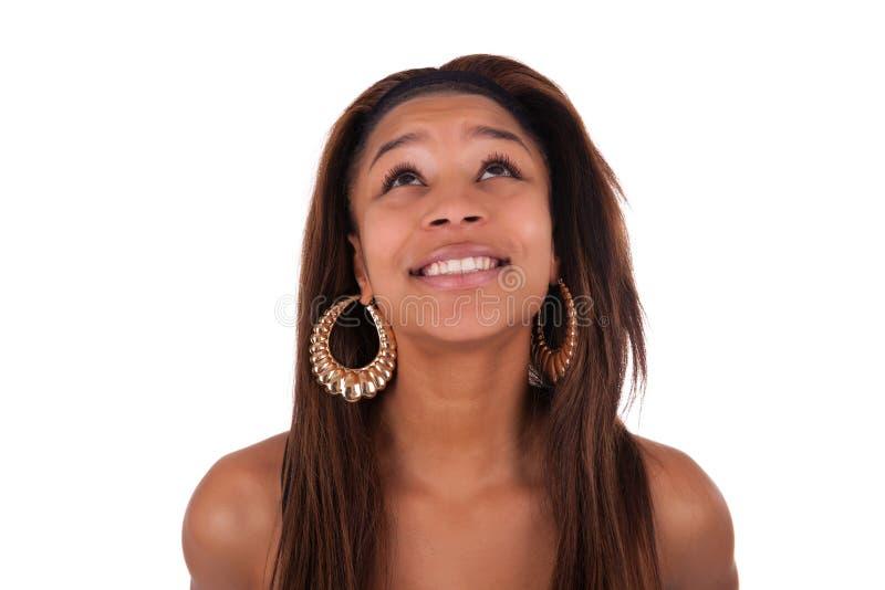 Preto africano novo da mulher no branco do fundo imagem de stock
