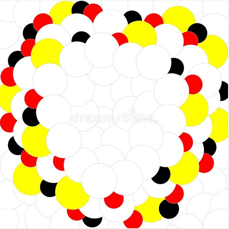 Preto amarelo vermelho branco das bolas no fundo branco ilustração do vetor