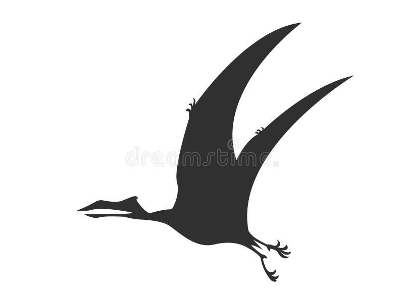 Preto animal pré-histórico jurássico do dinossauro de Pterosaur da silhueta ilustração royalty free