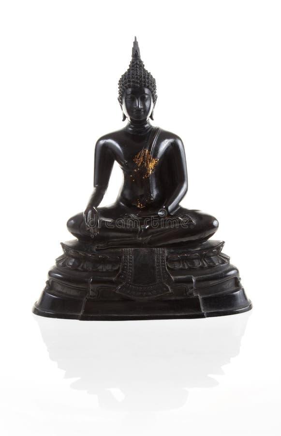 Preto antigo buddha do risco isolado fotografia de stock royalty free