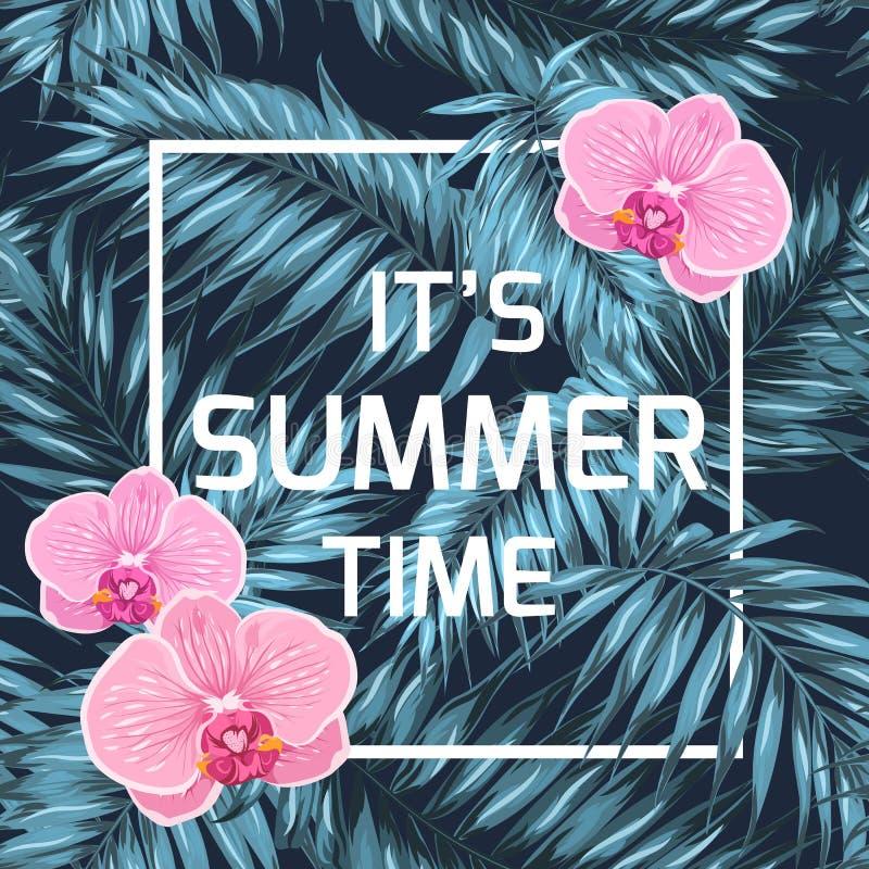 Preto azul das folhas de palmeira da orquídea da bandeira das horas de verão ilustração do vetor