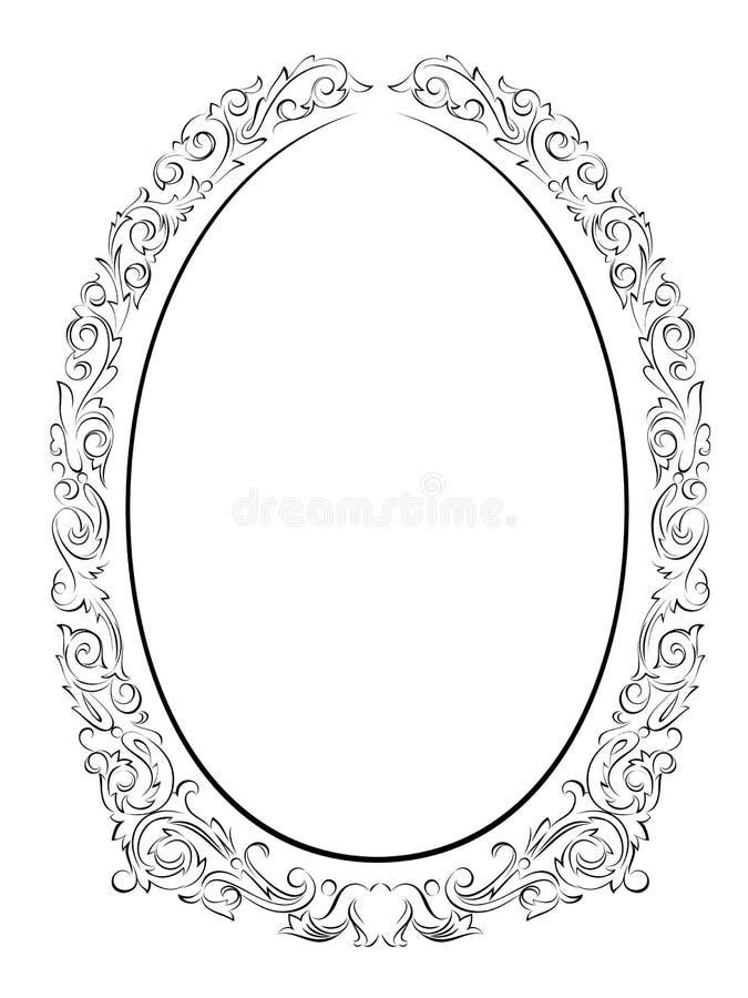 Preto barroco oval do frame do penmanship da caligrafia ilustração do vetor