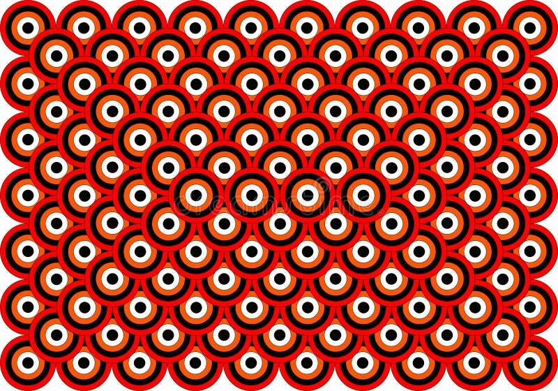 Preto branco alaranjado vermelho dos olhos da arte Op mil ilustração stock