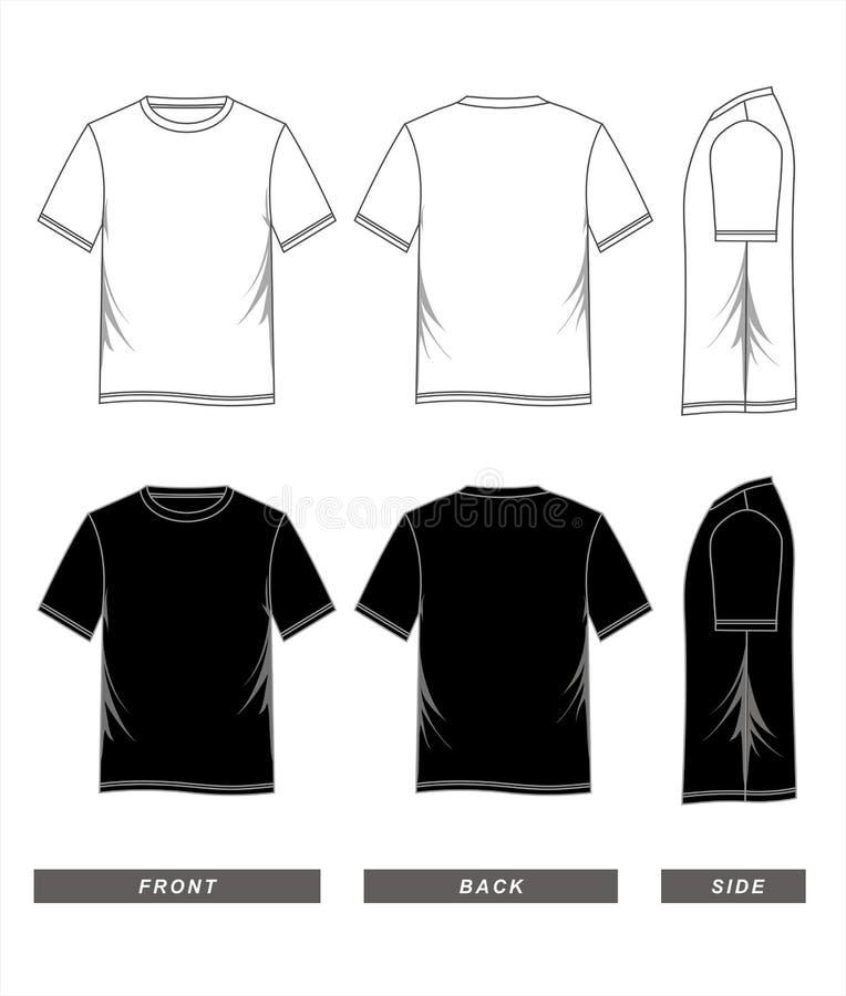 Preto branco, parte dianteira do molde do t-shirt, parte traseira, lado ilustração stock