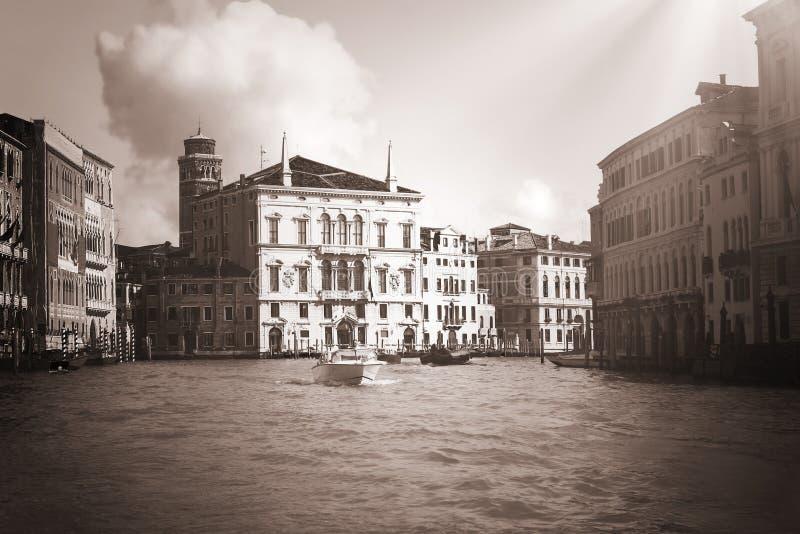 Preto & branco venetian do vintage do venezia de Veneza Vêneto fotografia de stock royalty free