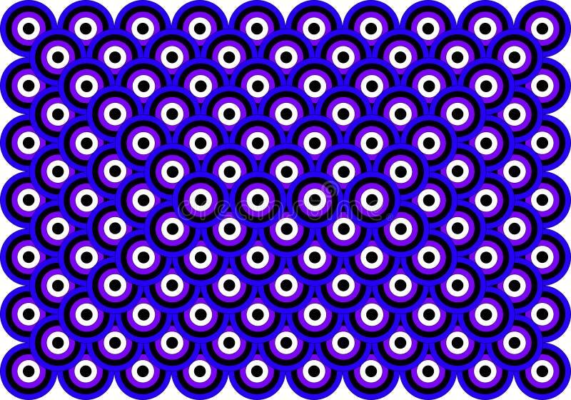 Preto branco violeta azul dos olhos da arte Op mil ilustração stock