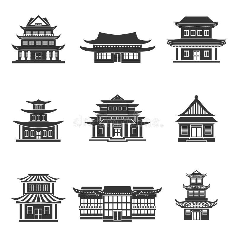 Preto chinês dos ícones da casa ilustração do vetor