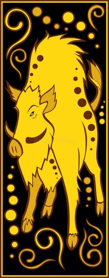 Preto chinês estilizado do horóscopo e ouro - porco ilustração stock