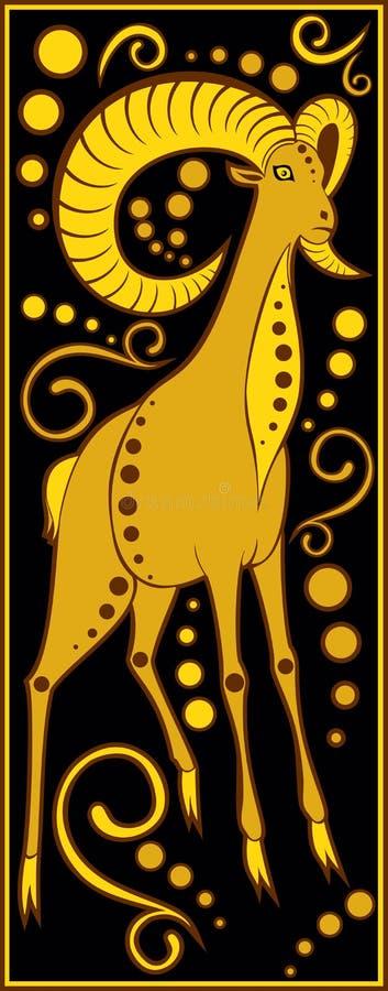 Preto chinês estilizado do horóscopo e ouro - porco ilustração royalty free
