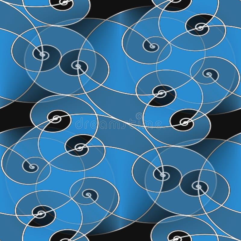 Preto cinzento azul do teste padrão espiral regular sem emenda ilustração royalty free