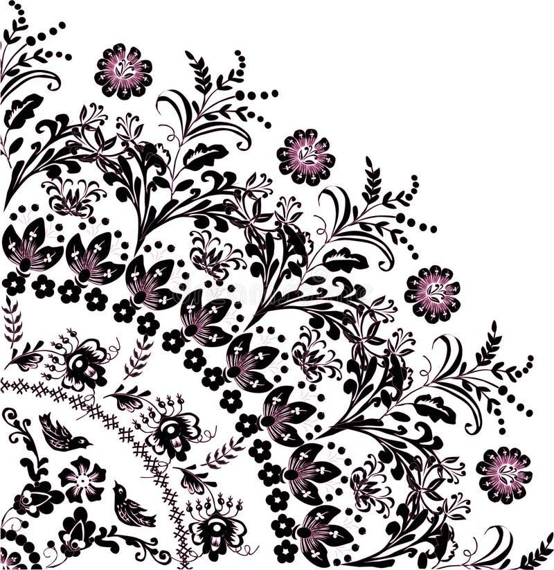 Preto com o ornamento cor-de-rosa do quadrante da flor ilustração do vetor