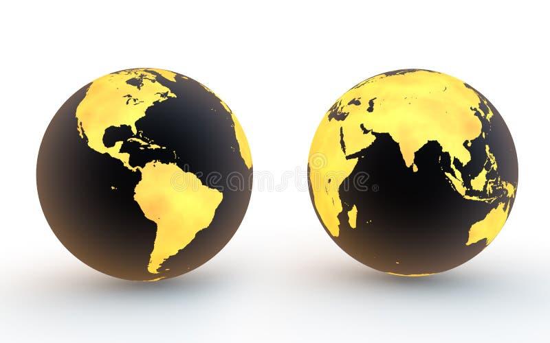 preto 3d e globos da terra do ouro ilustração stock