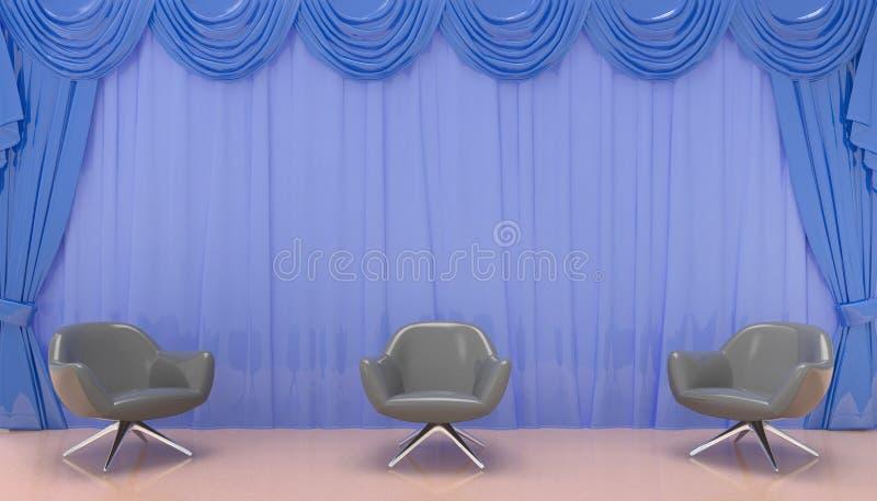 Preto da cadeira e cortinas azuis em uma área habitável simples e moderna no fundo de exposição ilustração stock