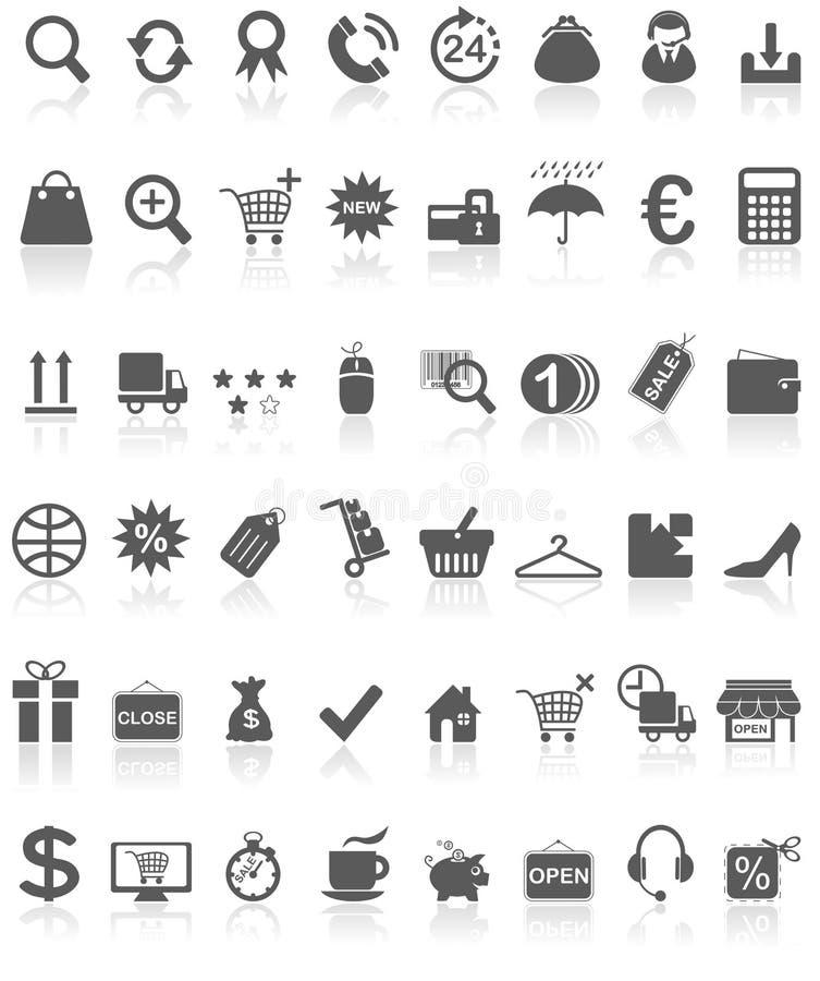Preto da coleção dos ícones da compra no branco ilustração royalty free