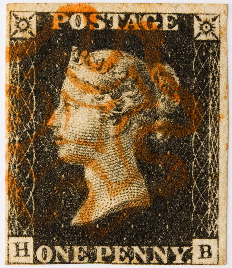 Preto da moeda de um centavo com carimbo postal vermelho imagens de stock
