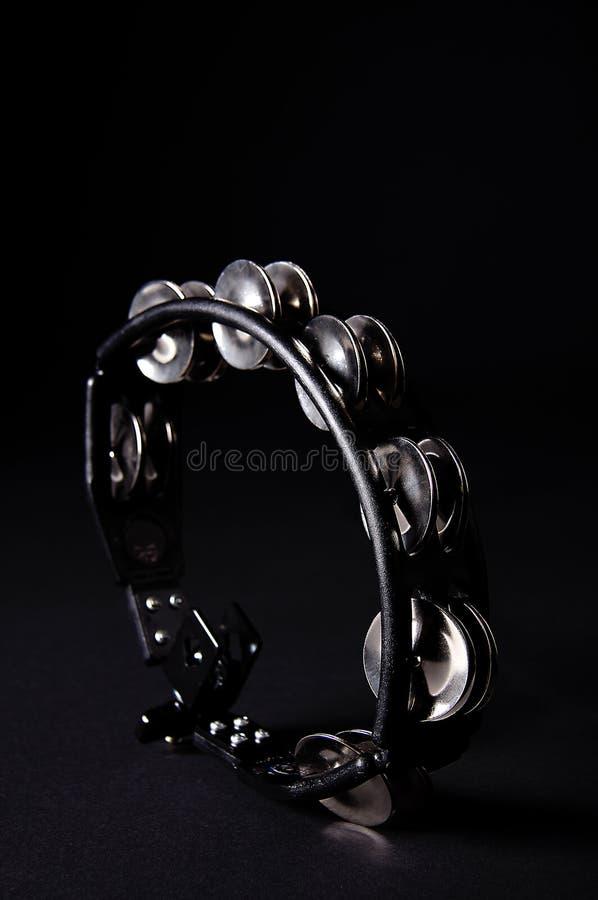 Preto dado forma oval Bk do Tambourine foto de stock