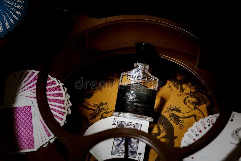 Preto de Creed Aventus eau de parfum fotografia de stock royalty free