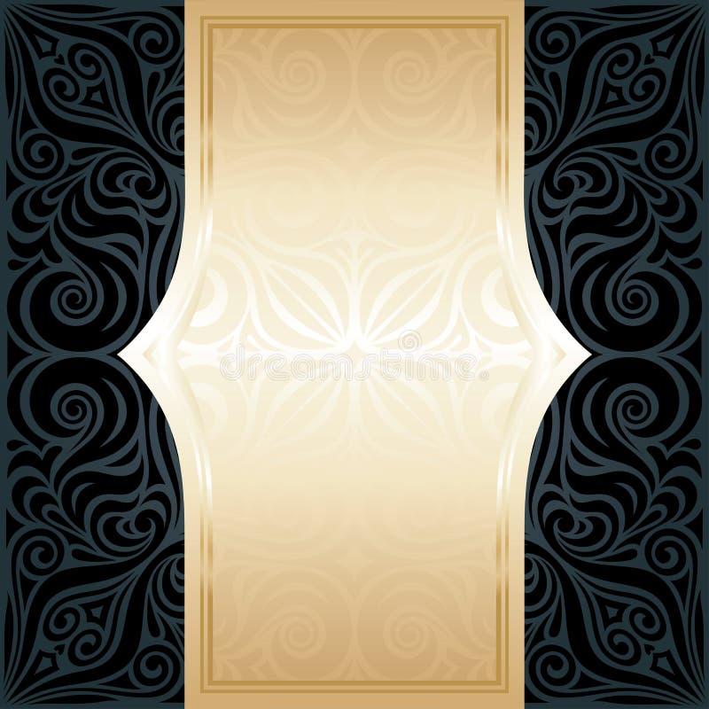 Preto decorativo & do fundo luxuoso floral do papel de parede do ouro projeto na moda da mandala da forma ilustração royalty free