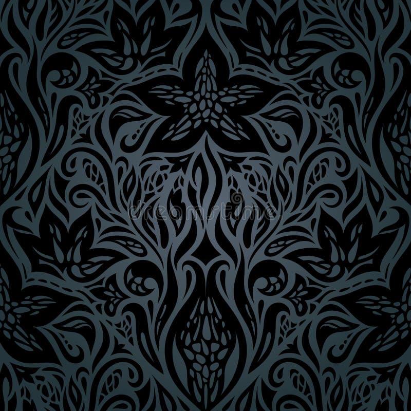 Preto decorativo floral do fundo do vintage ilustração stock