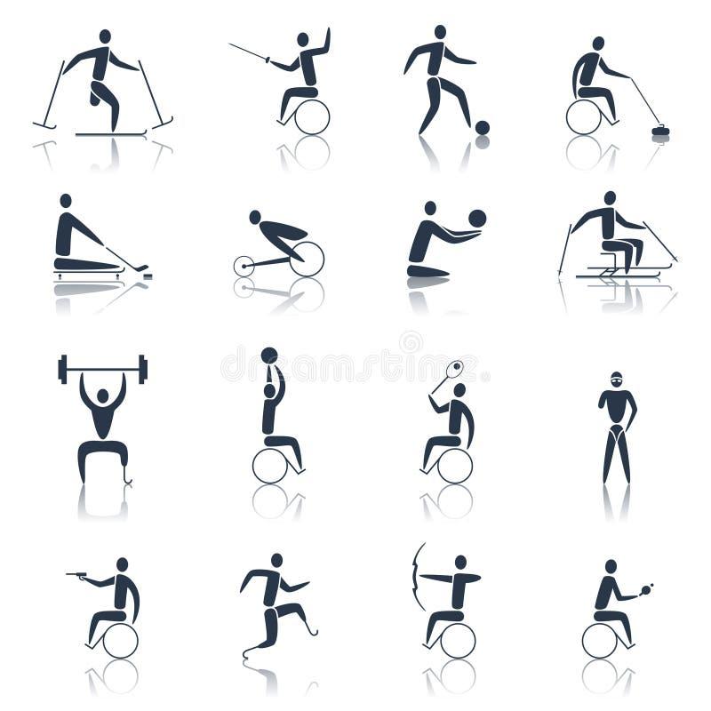 Preto deficiente dos ícones dos esportes ilustração stock