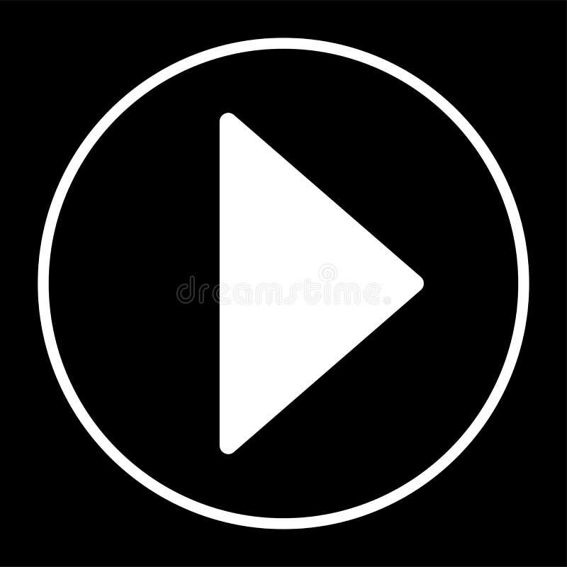 Preto dianteiro do botão do jogo do ícone da seta no espaço negativo do esboço branco do fundo ilustração royalty free