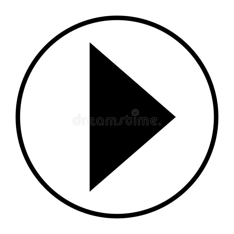 Preto dianteiro do botão do jogo do ícone da seta no fundo branco arredondado ilustração do vetor
