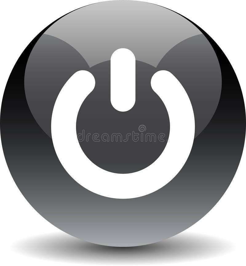 Preto do ícone da Web do botão do poder ilustração stock