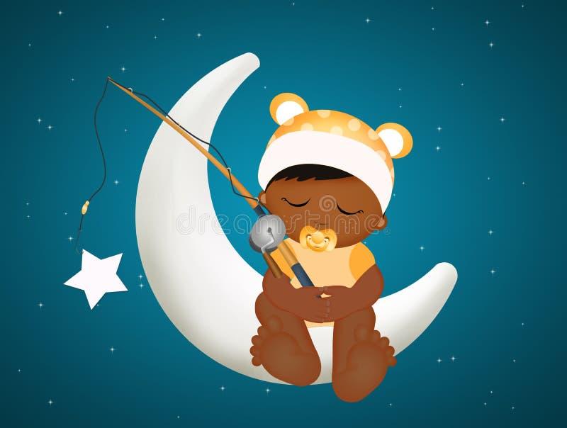 Preto do bebê na lua ilustração stock
