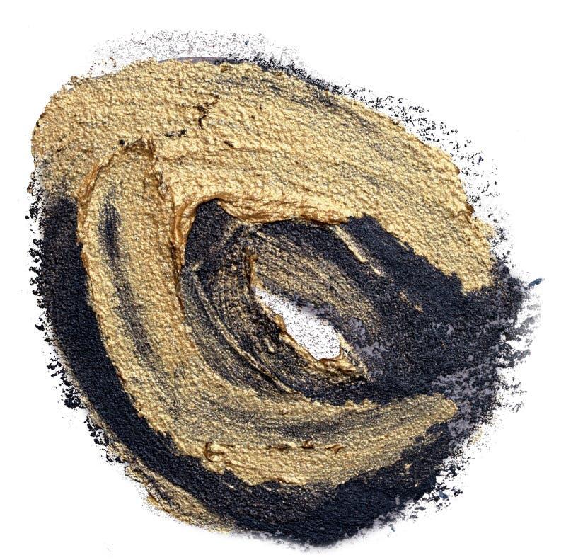 Preto do círculo mão textured e curso tirados da escova de pintura do óleo do ouro imagens de stock royalty free