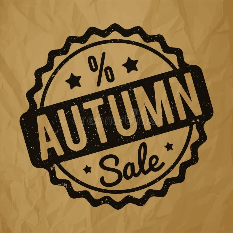 Preto do carimbo de borracha de Autumn Sale em um fundo marrom de papel amarrotado ilustração royalty free