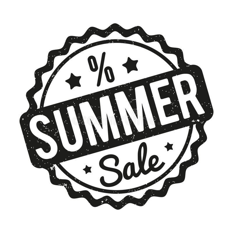 Preto do carimbo de borracha da venda do verão em um fundo branco ilustração royalty free