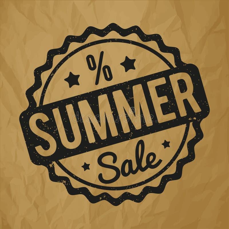 Preto do carimbo de borracha da venda do verão em um fundo marrom de papel amarrotado ilustração stock