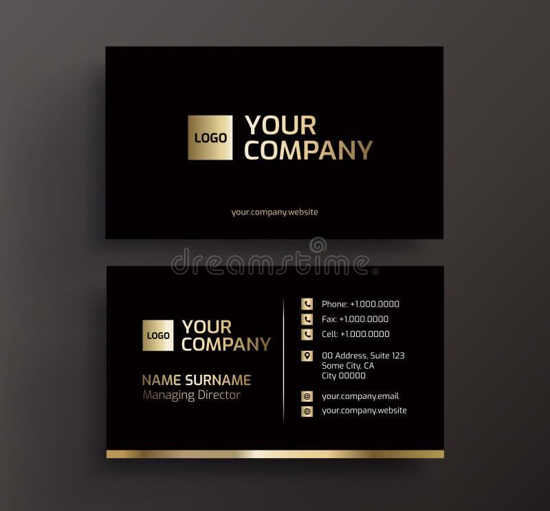 Preto do cartão e vetor do ouro imagem de stock royalty free