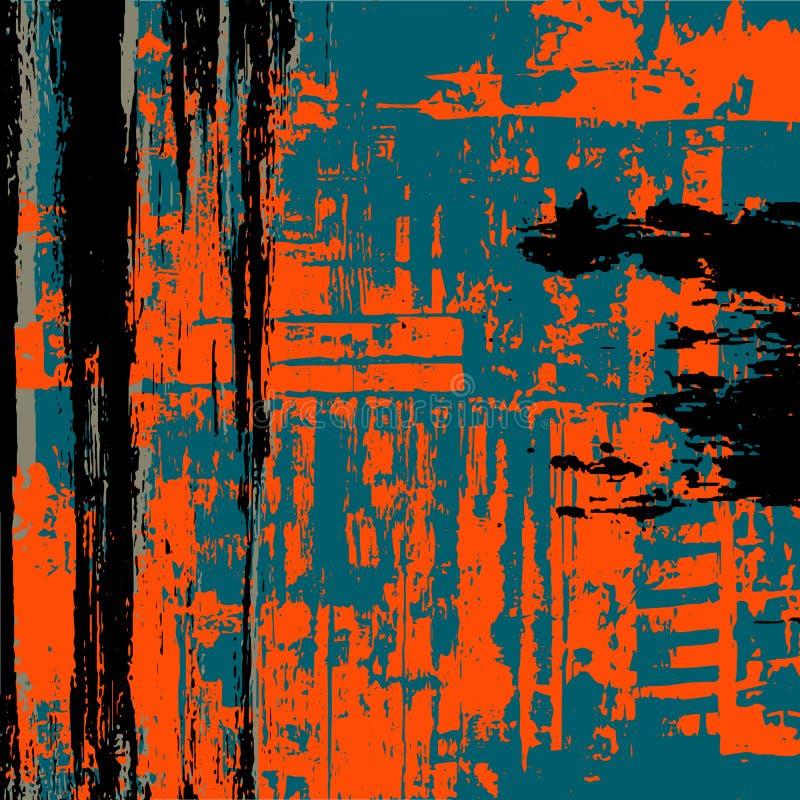 Preto do fundo do Grunge Escuro - azul Alaranjado ilustração do vetor