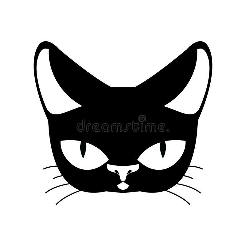 Preto do gato isolado Animal de estimação no fundo branco ilustração royalty free