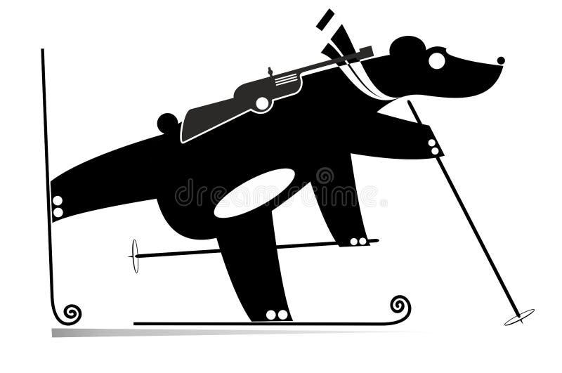Preto do urso do concorrente do Biathlon na ilustração branca ilustração stock