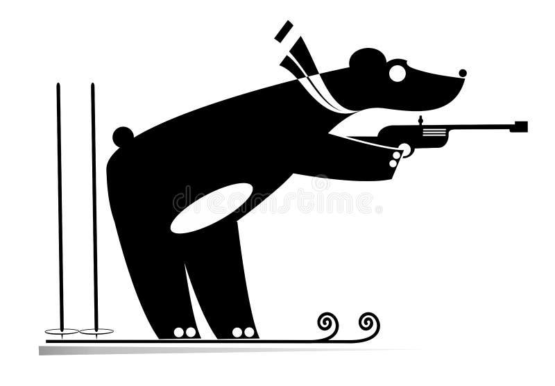 Preto do urso do concorrente do Biathlon na ilustração branca ilustração royalty free